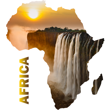 Victoria falls sunset with orange sun and africa continent