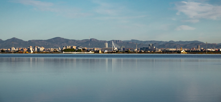 Valencia city skyline and albufera rice fields