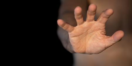 Caucasian man right hand be quiet symbol