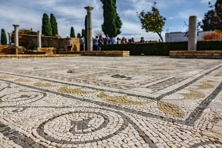 Roman mosaic floor with shallow depth of field and tourists