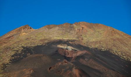 Closeup of Pico Viejo volcano crater with lava
