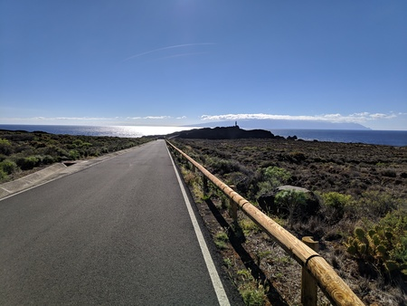 Road to Teno lighthouse in Tenerife with back light
