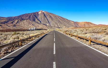Straight road to Teide volcano in Tenerife