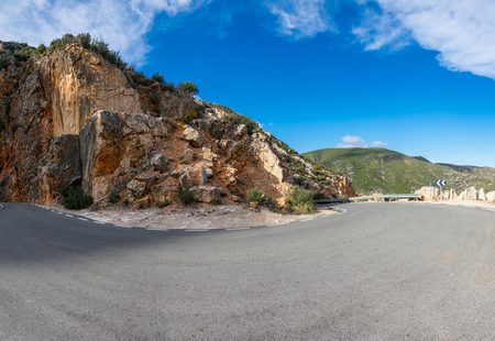 Ultra wide angle of u-shape curve in the mountain