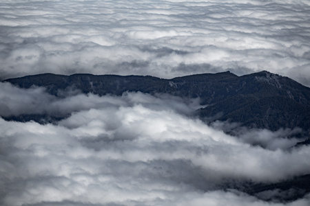 Top view of mountains and clouds