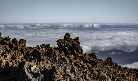 Lava fields over the cloudy sky in Tenerife 版權商用圖片