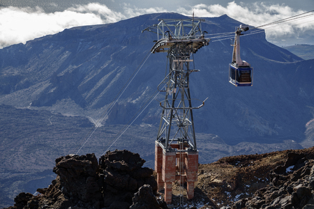 Cable car detail with tower in Teide mountain Reklamní fotografie