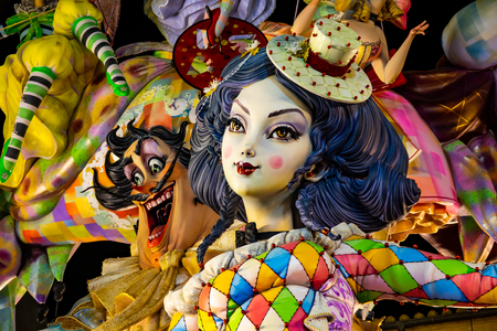 Bright ninot colors in Valencian Fallas at night