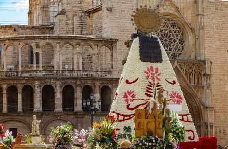 Rear view of las fallas virgin built with flowers