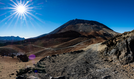 Extreme terrain in Teide volcano, panoramic view
