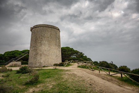 Tajo tower under the storm in Barbate, Cadiz