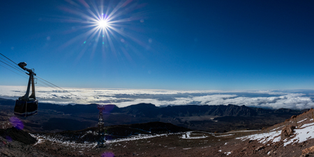 Top view gigapan of Teide crater with cable car and sun