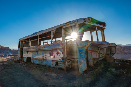 Backlit at the abandoned bus in the desert of Atacama, Chile