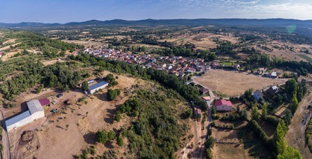 Panoramic aerial view of Pobladura de Aliste village, Zamora