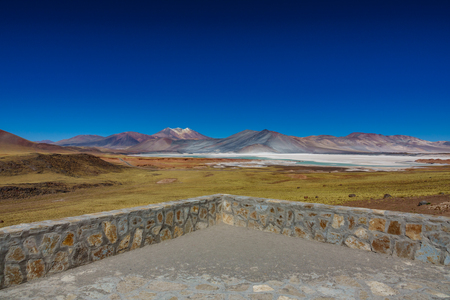 Viewpoint to red stones and Talar salar impressive landscape