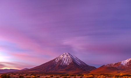 Sunset at Licancabur volcano long exposure in Atacama desert