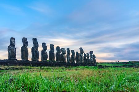 Sunrise at the Moai statues on Easter Island of Ahu Tongariki