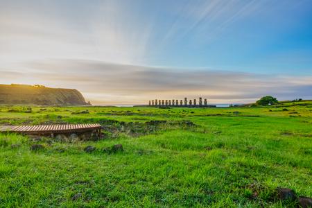 Ahu Tongariki iconic Moai altar long exposure at sunrise