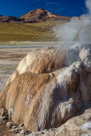 Active Geyser detailed view in El Tatio, vertical composition Stok Fotoğraf