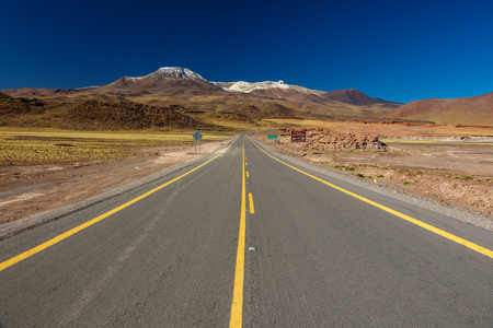 Isolated road in the middle of Atacama desert