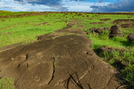 Wide angle bottom view of petroglyphs in Easter Island