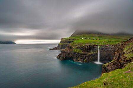 Gasadalur waterfall long exposure in Faroe Islands, Vagar island
