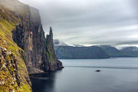 Long exposure of Trollkonufingur, Witchs Finger detail in Faroe Islands