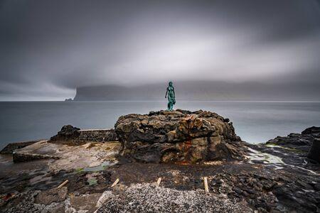 Kopakonan (the Seal Woman) statue in Mikladalur village long exposure spectacular wide angle