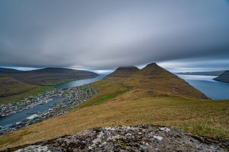 Long exposure of Klaksvik on Bordoy island, Faroe Islands, Denmark
