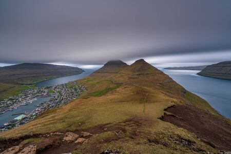Ultra long exposure of Klaksvik on Bordoy island, Faroe Islands, Denmark Stockfoto