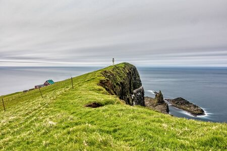Mykines island lighthouse long exposure in Faroe islands