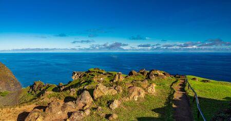 Tourists visit Orongo antique village in Rapa Nui