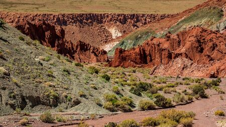 Rainbow valley with bright colors in Atacama desert