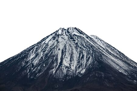 High volcano mountain peak with snow, white sky