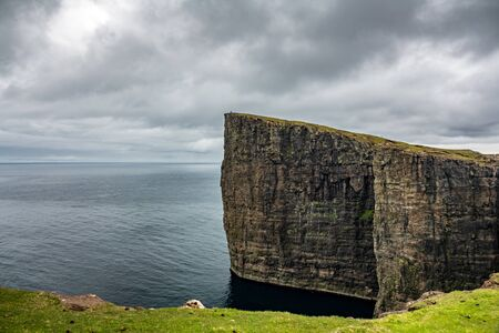 Sorvagsvatn lake cliffs over the ocean, Faroe Islands