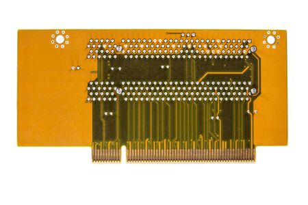 Top view closeup of whole circuit board over white background