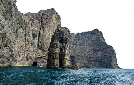 Amazing rock formations in Faroe islands coast