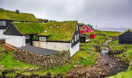 Top view of Mykines village in the remote island of Faroe