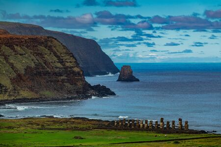 Moai platform on Easter Island from the distance. Ahu Tongariki