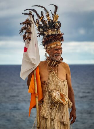 Rapa Nui historic boat arrives to Anakena beach, the reception Editorial
