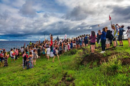 Rapa Nui historical boat arrives to Anakena beach, the reception Editorial