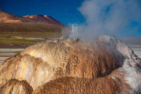 El Tatio active Geysers heap closeup view at Atacama desert, Chile