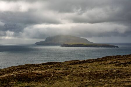 Dark cloudy and stormy sky over Faroe Islands