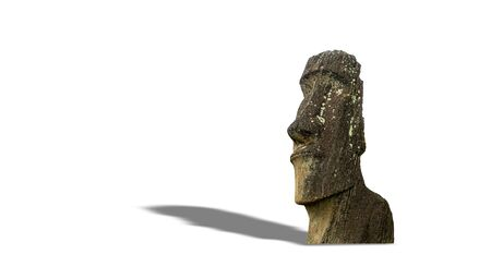 Iconic moai statue isolated over white with shadow Stockfoto