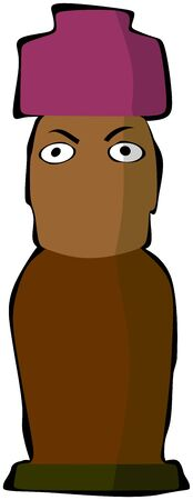 Moai with Pukao, eyebrows, eyes and shadow zones Illustration