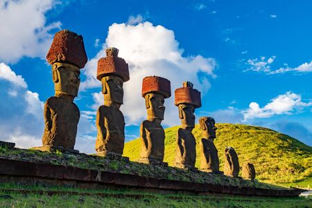 Ahu Nau Nau moai platform in Rapa Nui bottom view