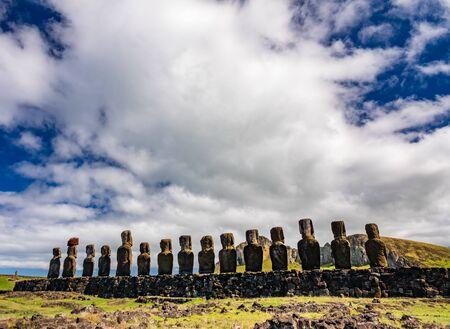 Ahu Tongariki moai platform in a row rear view
