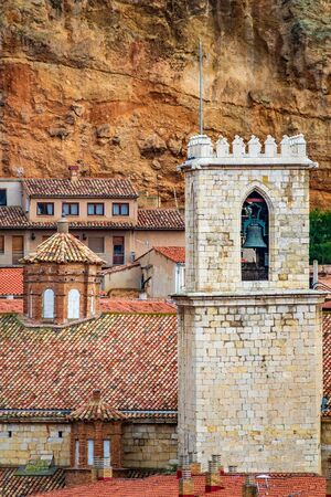 Tower and roofs in the antique city of Daroca closeup Banco de Imagens