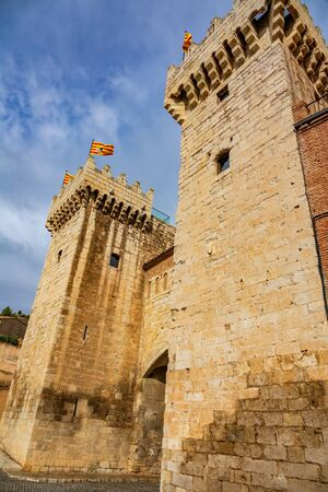 High tower at the entrance of the city of Daroca Stok Fotoğraf
