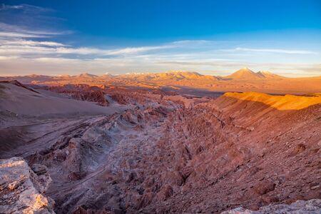 Mars valley at sunset with Licancabur volcano